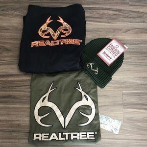 Realtree hoodie long sleeve T & beanie hat camo Lg